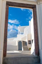Greece, Santorini, Fira, Hotel Entrance Gate In White-washed Coastal Town