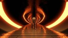 Three Dimensional Render Of Lone Astronaut Exploring Futuristic Corridor Illuminated By Orange Glowing Arches