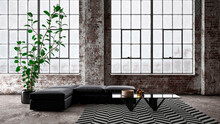 Three Dimensional Render Of Interior Of Industrial Loft With Sofa, Coffee Table And Chevron Pattern Rug