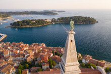 Croatia, Istria, Aerial View Of Statue Of Saint Euphemia Standing On Top Of Church Bell Tower