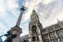 New Town Hall Of Marienplatz And Marian Column At Munich, Bavaria, Germany