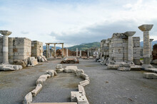 Turkey, Izmir Province, Selcuk, Columns In Ancient Ruins Of Basilica Of Saint John