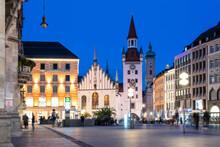 Illuminated City Center At Dusk, Munich, Bavaria, Germany