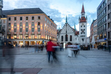 Marienplatz, Marian Square With Old City Hall And Toy Museum, Old Town Munich, Germany