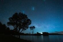 New Zealand, North Island, Rotorua, Lake Okareka At Starry Night