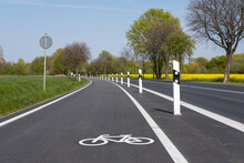 Bicycle Lane With Boundary Posts