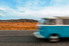 Blurred Motion Of Bus Driving AlongState Highway 8