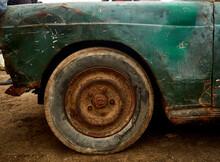 Wheel Of Old Rusty Vintage Car
