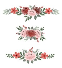 Set Of Pink And Red Roses Watercolor Bouquet. Floral Vector Design