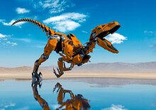 Cyber Raptor Is Runnning Fast On The Desert After Rain