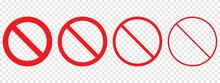 Prohibiting Or Ban Sign Isolated. Simple Vector Illustration On Transparent Background.