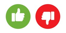 Linnear Thumbs Up And Thumbs Down. Social Media Concept, Like And Dislike, Vector Illustration.