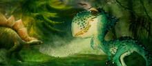 Jurassic Park. Watercolor Backgrond For Children