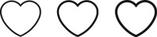 Heart Icon Collection. Live Stream Video, Social Media. Vector, Illustration, Chat, Likes, Love Symbol, White Background.