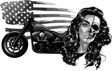 Vector Illustation Vintage Chopper Motorcycle With Woman Face And American Flag