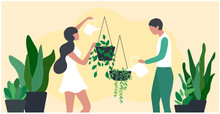 Couple Watering  And Growing House Plants, Home Garden And Planting During Stay Home Concept, Vector Illustration