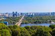 Aerial view of Metro bridge and the Dnieper river in Kiev, Ukraine. Kyiv cityscape