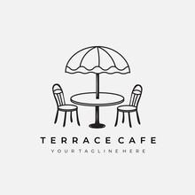 Terrace Cafe Logo Line Art Vector Illustration Design Creative Nature Minimalist Monoline Outline Linear Simple Modern