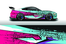 Decal Car Wrap Design Vector. Graphic Abstract Stripe Racing Background For Vehicle, Race Car, Rally, Drift . Ready Print File