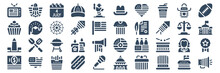 Set Of 40 Th Of July Web Icons In Glyph Style Such As Money, Washington Monument, Cupcake, Cap, T Shirt, Megaphone. Vector Illustration.