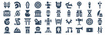 Set Of 40 History Web Icons In Glyph Style Such As Tomb, Shell, Treasure Chest, Chinese Coin, Column, Sword. Vector Illustration.