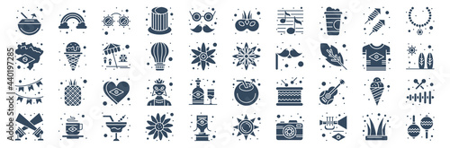 Fototapeta set of 40 brazilian carnival web icons in glyph style such as spotlight, garland, brazil, magic hat, sunflower, maracas