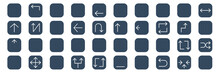 Set Of 40 Arrows Web Icons In Glyph Style Such As Rotate, Up Down, Up Arrow, Diagonal Arrow, Up Down, Left Chevron. Vector Illustration.