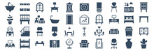 Set Of 40 Furniture Web Icons In Glyph Style Such As Livingroom, Dressing Table, Plant, Bedroom Lamp, Picture Frame, Cactus. Vector Illustration.