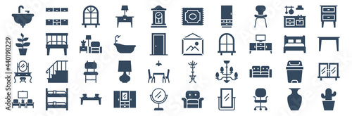 Tela set of 40 furniture web icons in glyph style such as livingroom, dressing table, plant, bedroom lamp, picture frame, cactus