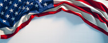 US Flag On White Paint Texture. 4th Of July USA Independence Day Banner Copy Space