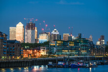 Canary Wharf At Dusk In London, England