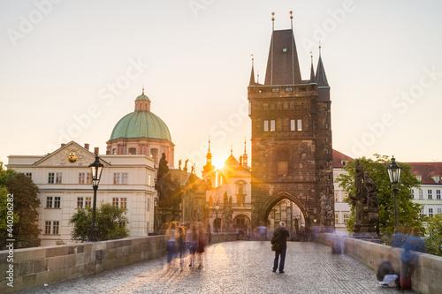 Canvas Long exposure view of Charles bridge at sunrise in Prague, Czech Republic