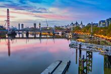 Beautiful Sunrise Of River Thames Overlooking Jubilee Bridge And Big Ben Clock In London. England