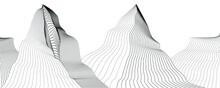 Mountain Peaks . Line Art Vector Illustration