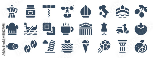 Stampa su Tela set of 24 italy web icons in glyph style such as corkscrew, pantheon, leaning tower of pisa, football, orange, scooter