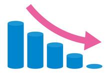 減少する円柱グラフのイラスト