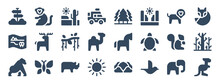 Set Of 24 Animal And Nature Web Icons In Glyph Style Such As Desert, Horse, Rhinoceros, Bird, Kangaroo, Squirrel. Vector Illustration.