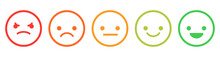 Set Of Emoticons With Different Emotions. Emoji From Bad To Good Emothions. Vector Illustration Isolated On White Background