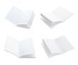 Leinwandbild Motiv Set with blank paper brochures on white background. Mockup for design