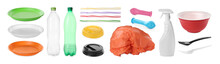 Set With Different Plastic Items On White Background. Banner Design