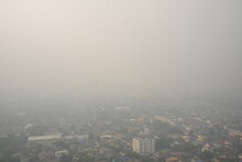 Smog Pm2.5 Air Pollution Over The City Downtown In The Morning