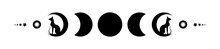 Triple Moon And Black Cats, Pagan Wiccan Goddess Symbol, Moon Phases, Silhouette Wicca Banner Sign, Energy Circle. Sacred Geometry Of The Wheel Of The Year, Vector Isolated On White Background