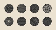 Set Of Hand Drawn Minimalist Artistic Circle Elements