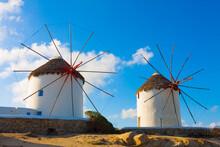 Two Windmills Mykonos Island Greece Cyclades