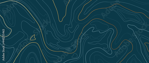 Luxury gold abstract line art background vector. Mountain topographic map background with golden lines texture, 17:9 wallpaper design for wall arts, fabric , packaging , web, banner, app, wallpaper.
