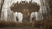An Old Abandoned Merry-go-round Is Spinning In The Autumn Mystical White Forest. The Concept Of An Abandoned Park After The Apocalypse. 3D Rendering.
