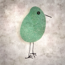Stylish Textured Old Paper Background With Funny Little Birds Made Of Sea Glass Pebble Pieces