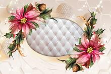 3d Illustration, 3d Wallpaper. Beautiful Flowers And Butterflies