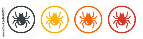 Valokuva Spider symbol on circle button graphic design