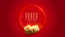 Golden Casino Dice On Red Background